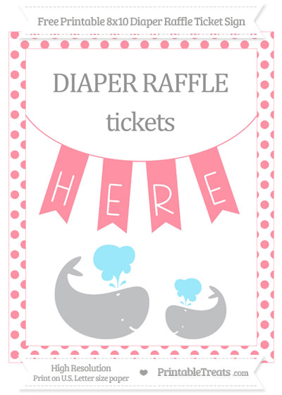 Free Salmon Pink Dotted Baby Whale 8x10 Diaper Raffle Ticket Sign
