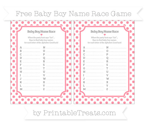 Free Salmon Pink Dotted Pattern Baby Boy Name Race Game