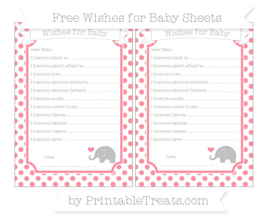 Free Salmon Pink Dotted Pattern Baby Elephant Wishes for Baby Sheets