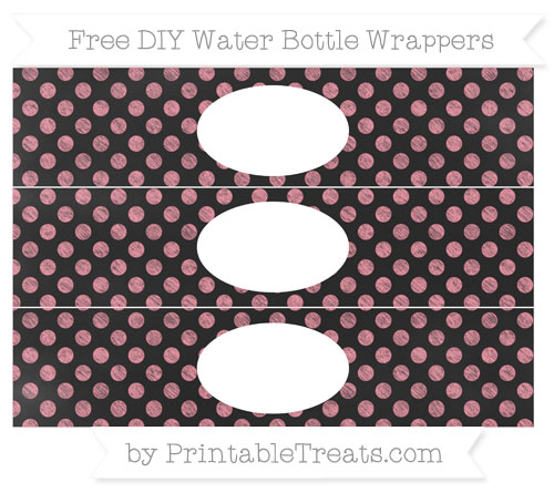 Free Salmon Pink Dotted Pattern Chalk Style DIY Water Bottle Wrappers
