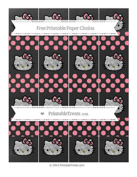 Free Salmon Pink Dotted Pattern Chalk Style Hello Kitty Paper Chains