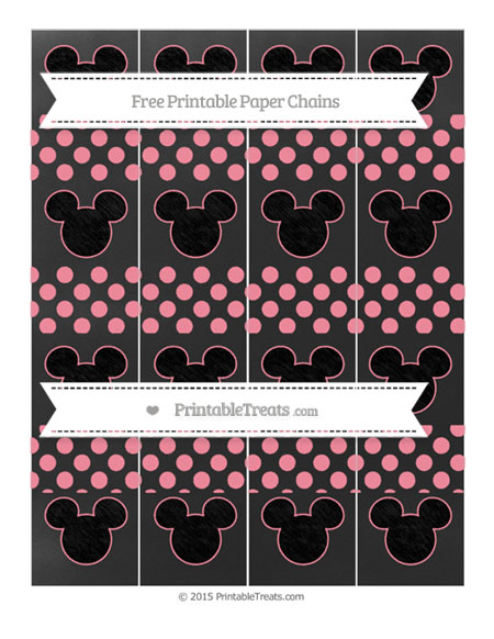 Free Salmon Pink Dotted Pattern Chalk Style Mickey Mouse Paper Chains
