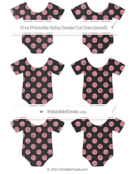Free Salmon Pink Dotted Pattern Chalk Style Small Baby Onesie Cut Outs