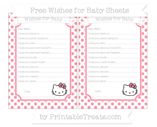 Free Salmon Pink Dotted Pattern Hello Kitty Wishes for Baby Sheets