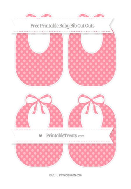Free Salmon Pink Dotted Pattern Medium Baby Bib Cut Outs