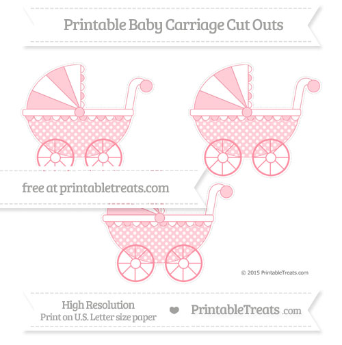 Free Salmon Pink Dotted Pattern Medium Baby Carriage Cut Outs