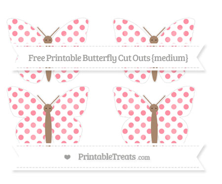 Free Salmon Pink Dotted Pattern Medium Butterfly Cut Outs