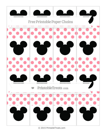 Free Salmon Pink Dotted Pattern Mickey Mouse Paper Chains