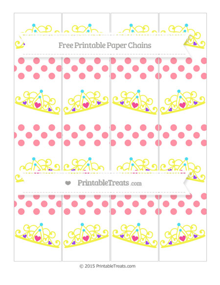Free Salmon Pink Dotted Pattern Princess Tiara Paper Chains