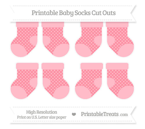 Free Salmon Pink Dotted Pattern Small Baby Socks Cut Outs