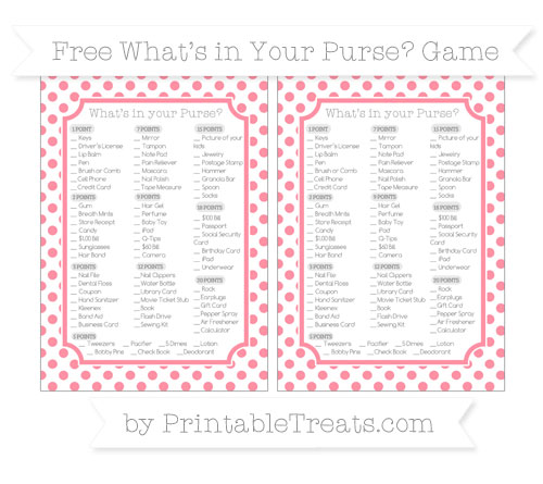 Free Salmon Pink Dotted Pattern What's in Your Purse Baby Shower Game