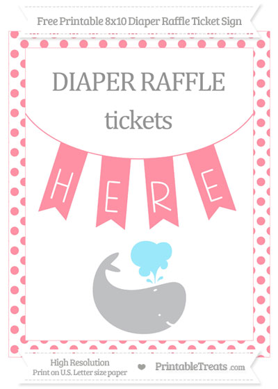 Free Salmon Pink Dotted Whale 8x10 Diaper Raffle Ticket Sign