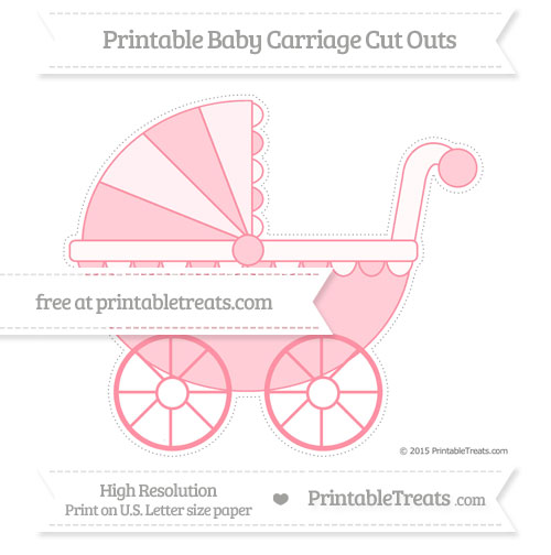 Free Salmon Pink Extra Large Baby Carriage Cut Outs
