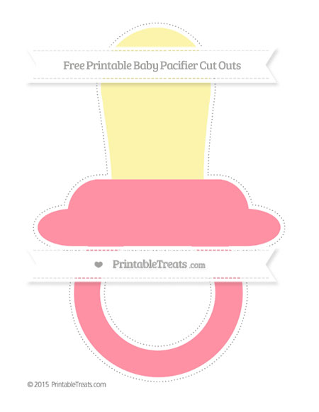 Free Salmon Pink Extra Large Baby Pacifier Cut Outs