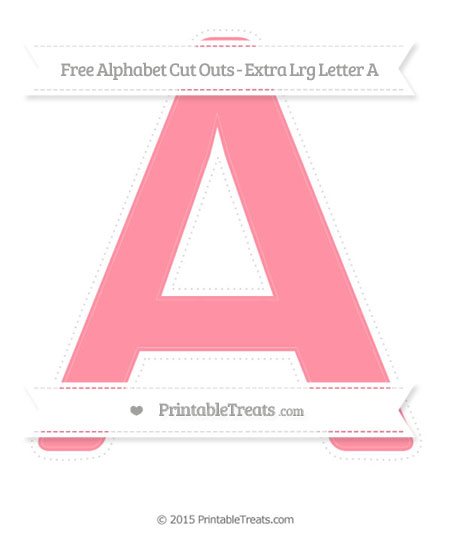 Free Salmon Pink Extra Large Capital Letter A Cut Outs