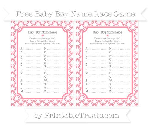 Free Salmon Pink Fish Scale Pattern Baby Boy Name Race Game