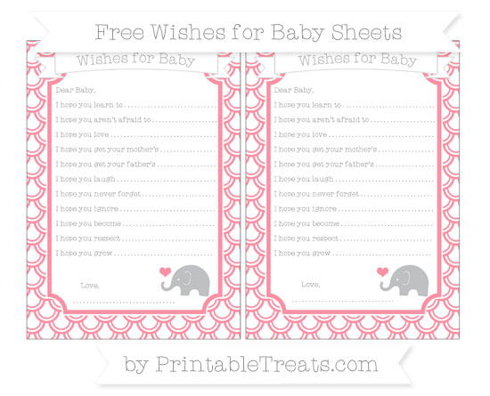 Free Salmon Pink Fish Scale Pattern Baby Elephant Wishes for Baby Sheets