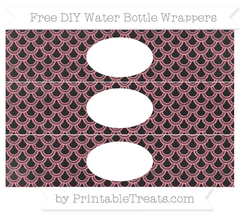 Free Salmon Pink Fish Scale Pattern Chalk Style DIY Water Bottle Wrappers