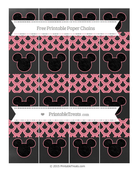 Free Salmon Pink Fish Scale Pattern Chalk Style Mickey Mouse Paper Chains