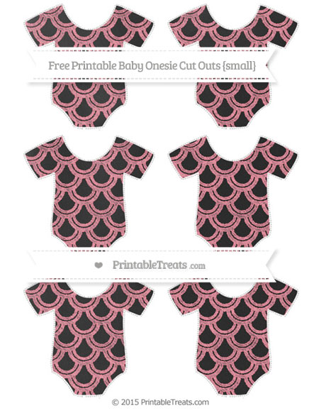 Free Salmon Pink Fish Scale Pattern Chalk Style Small Baby Onesie Cut Outs