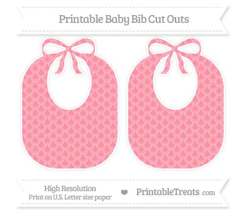 Free Salmon Pink Fish Scale Pattern Large Baby Bib Cut Outs