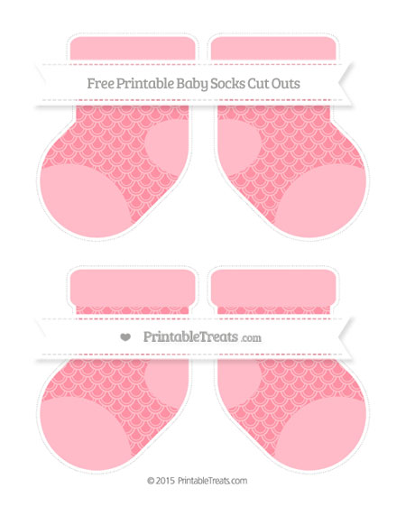 Free Salmon Pink Fish Scale Pattern Medium Baby Socks Cut Outs