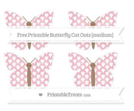 Free Salmon Pink Fish Scale Pattern Medium Butterfly Cut Outs