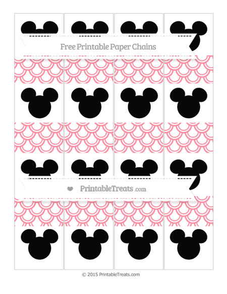 Free Salmon Pink Fish Scale Pattern Mickey Mouse Paper Chains