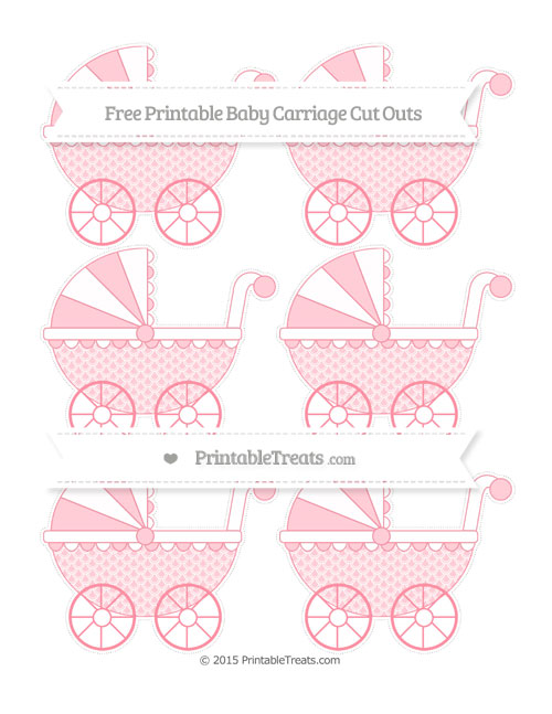 Free Salmon Pink Fish Scale Pattern Small Baby Carriage Cut Outs