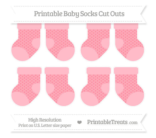 Free Salmon Pink Fish Scale Pattern Small Baby Socks Cut Outs