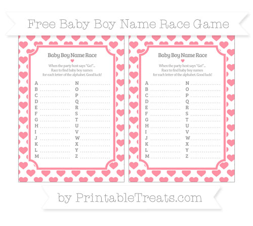 Free Salmon Pink Heart Pattern Baby Boy Name Race Game
