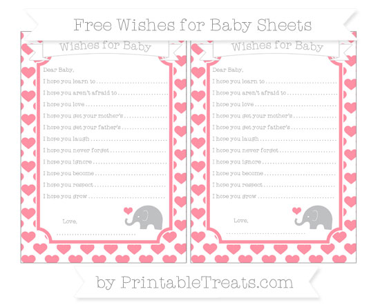 Free Salmon Pink Heart Pattern Baby Elephant Wishes for Baby Sheets
