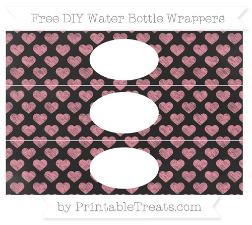 Free Salmon Pink Heart Pattern Chalk Style DIY Water Bottle Wrappers
