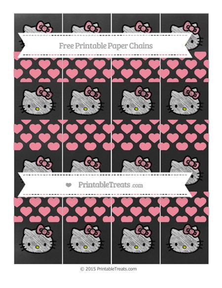 Free Salmon Pink Heart Pattern Chalk Style Hello Kitty Paper Chains