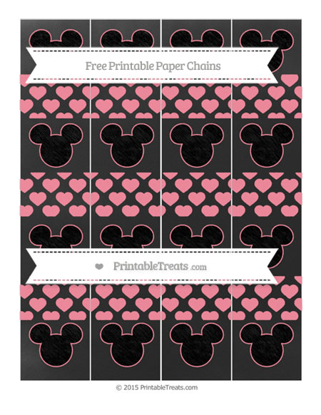 Free Salmon Pink Heart Pattern Chalk Style Mickey Mouse Paper Chains
