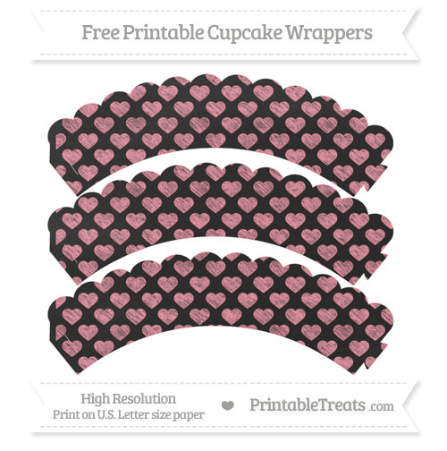 Free Salmon Pink Heart Pattern Chalk Style Scalloped Cupcake Wrappers
