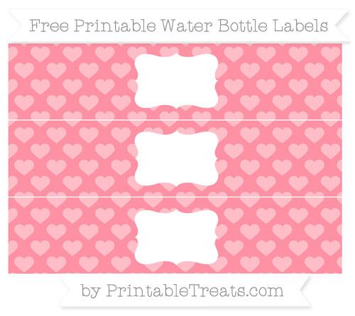 Free Salmon Pink Heart Pattern Water Bottle Labels