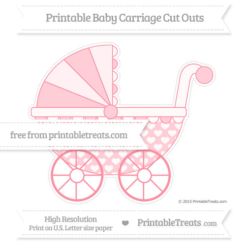 Free Salmon Pink Heart Pattern Extra Large Baby Carriage Cut Outs