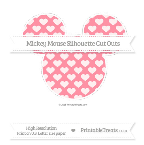 Free Salmon Pink Heart Pattern Extra Large Mickey Mouse Silhouette Cut Outs