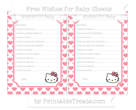 Free Salmon Pink Heart Pattern Hello Kitty Wishes for Baby Sheets