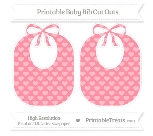 Free Salmon Pink Heart Pattern Large Baby Bib Cut Outs