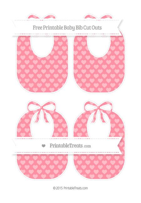 Free Salmon Pink Heart Pattern Medium Baby Bib Cut Outs