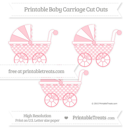 Free Salmon Pink Heart Pattern Medium Baby Carriage Cut Outs