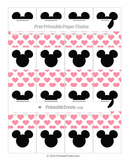 Free Salmon Pink Heart Pattern Mickey Mouse Paper Chains