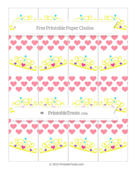 Free Salmon Pink Heart Pattern Princess Tiara Paper Chains