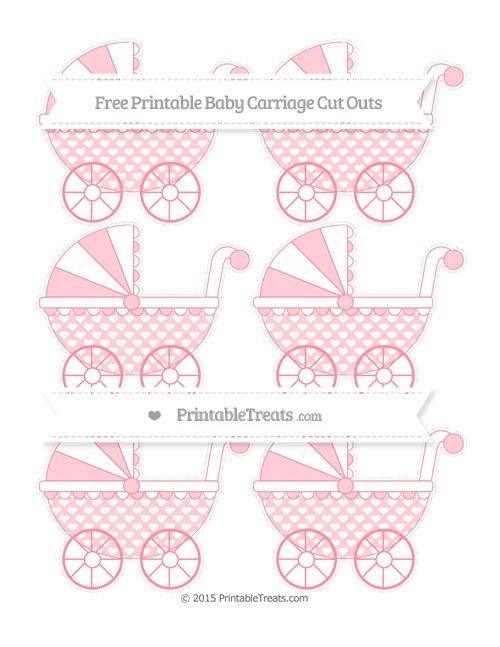 Free Salmon Pink Heart Pattern Small Baby Carriage Cut Outs