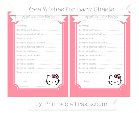 Free Salmon Pink Hello Kitty Wishes for Baby Sheets