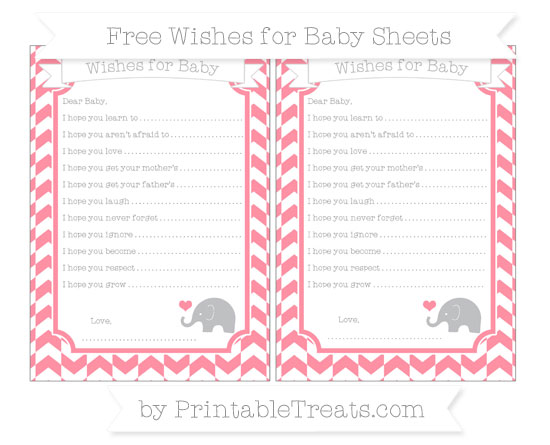 Free Salmon Pink Herringbone Pattern Baby Elephant Wishes for Baby Sheets