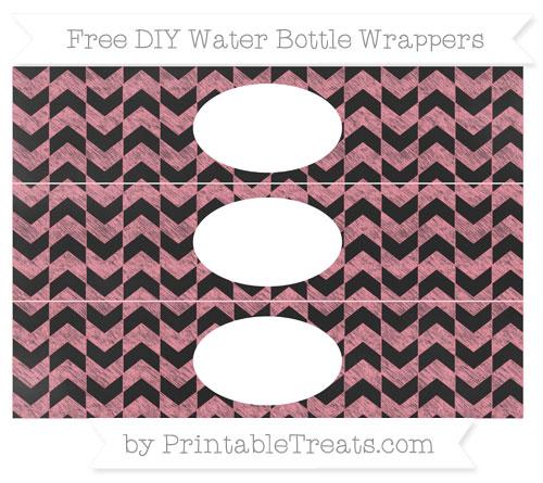 Free Salmon Pink Herringbone Pattern Chalk Style DIY Water Bottle Wrappers