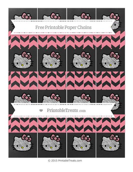 Free Salmon Pink Herringbone Pattern Chalk Style Hello Kitty Paper Chains